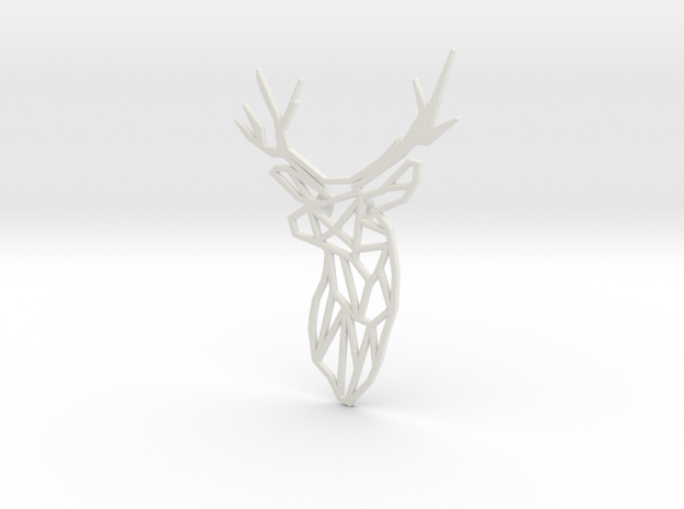 Stag Trophy Head Pendant Broach in White Natural Versatile Plastic