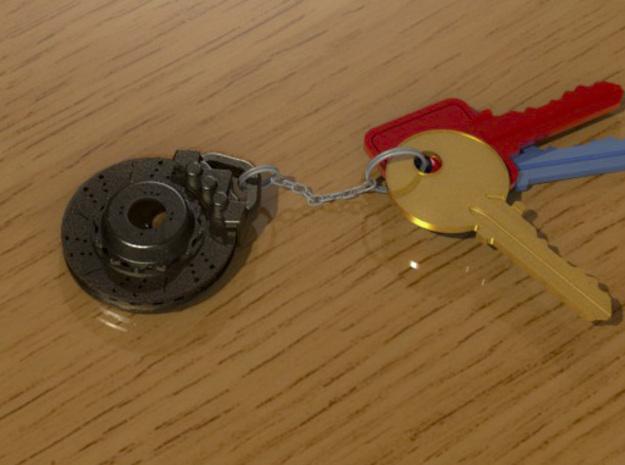 Disc brake keychain 3d printed Antique bronze matte