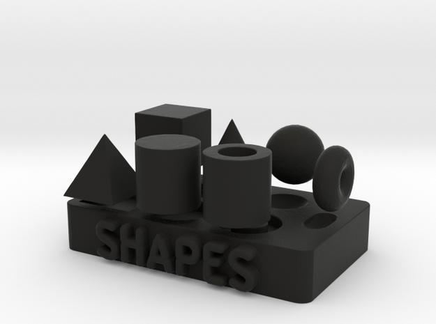 Collection of Primitive Shapes in Black Natural Versatile Plastic