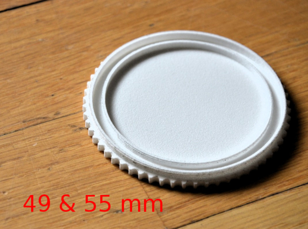 Double threaded lens cap: 49 and 55 mm in White Strong & Flexible