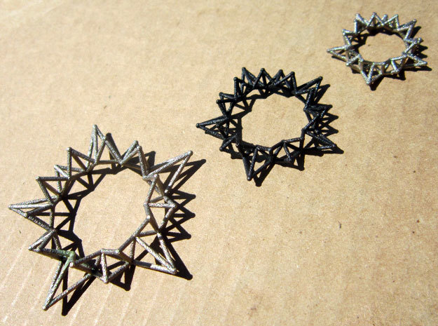 Star Rings 5 Points - 3 pack - 6cm in Polished Nickel Steel