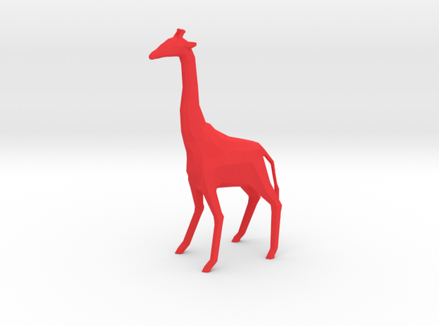 Low PolyGiraffe [11cm Tall] in Red Strong & Flexible Polished