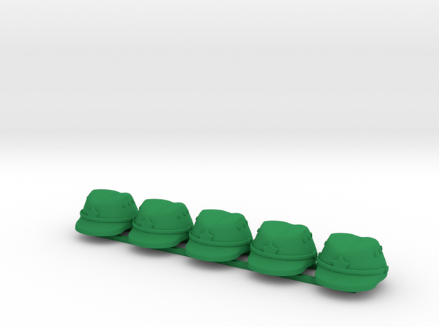5 x Japanese Cap  in Green Processed Versatile Plastic