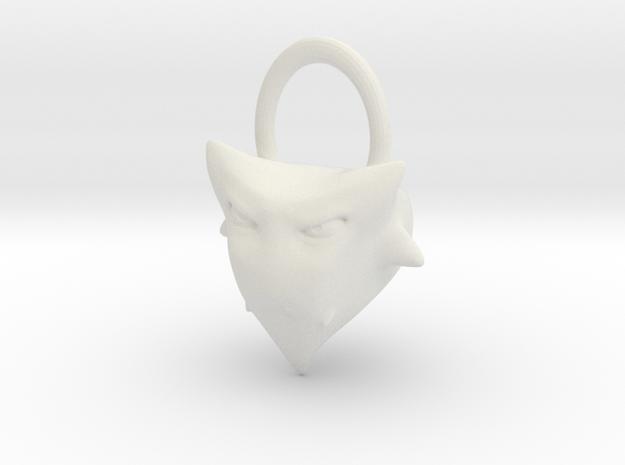 Zed Keychain in White Natural Versatile Plastic