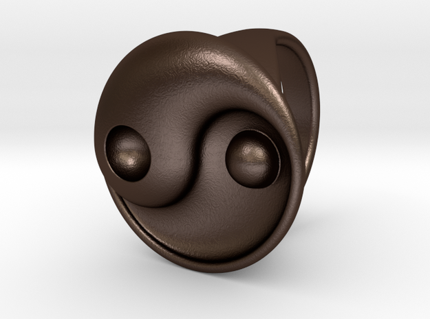Yin Yang - 6.1 - Ring For Her - 16.5 Mm in Matte Bronze Steel