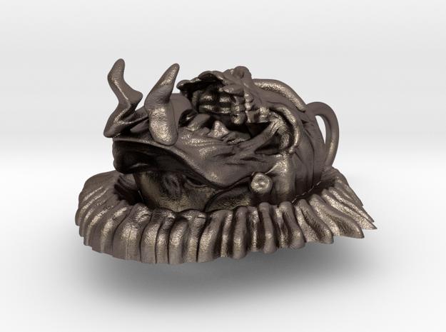 Evil Skull biker pendant in Polished Bronzed Silver Steel