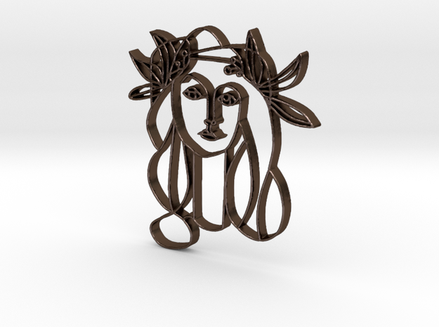 Lady portrait pendant in Polished Bronze Steel