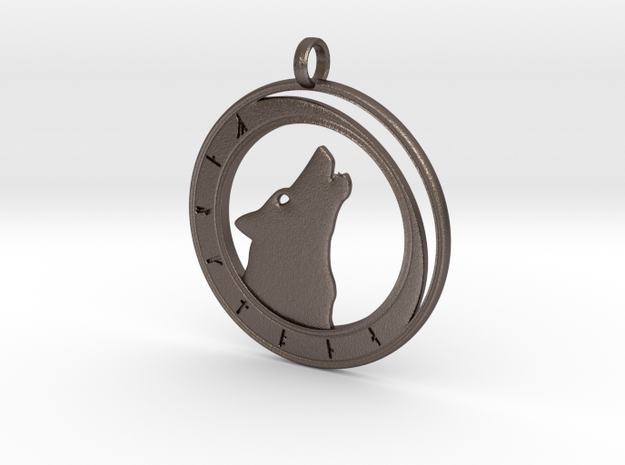 Wolf Moon - Rune Circle in Polished Bronzed Silver Steel
