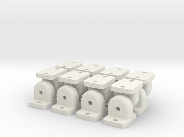Bearing Supports for 2x5x2.5mm in White Natural Versatile Plastic