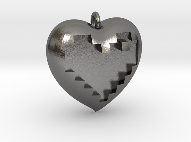 8-bit Heart in Heart Pendant in Polished Nickel Steel
