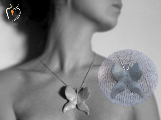 Butterfly (low poly) pendant in Polished Metallic Plastic