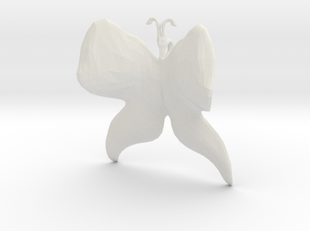 Butterfly (low poly) pendant in White Natural Versatile Plastic