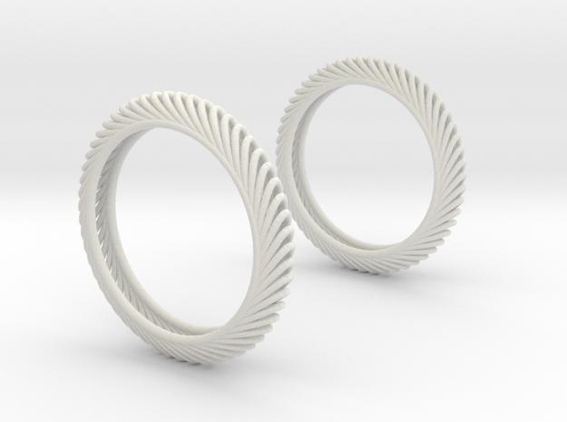 Wired Beauty 7 Hoop Earrings 40mm in White Natural Versatile Plastic