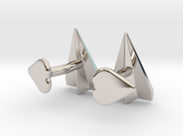 Paper Airplane Cufflinks with Heart Button 3d printed