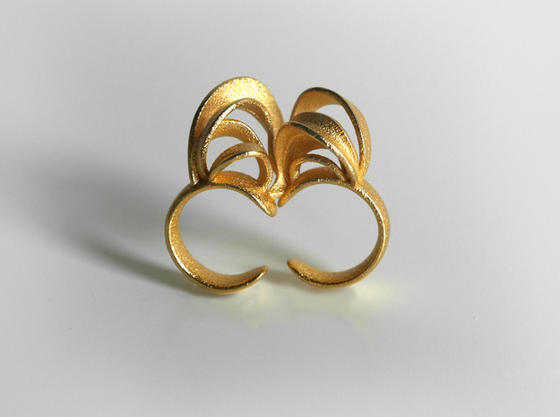 Ribbon Double Ring 8/9 3d printed Gold