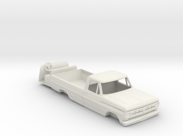 1:64 scale 1967 Ford pickup cab with interior in White Natural Versatile Plastic