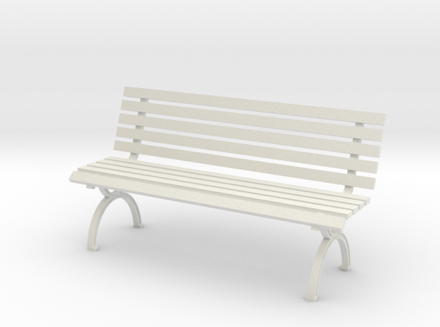 1:24 Park Bench in White Natural Versatile Plastic