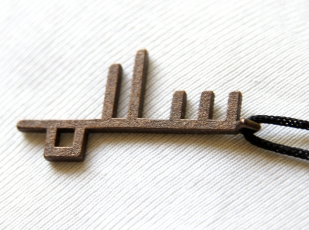 Peace Key Square Kufic Earrings 3d printed Peace Piece Square Kufic as a Pendant - Bronze