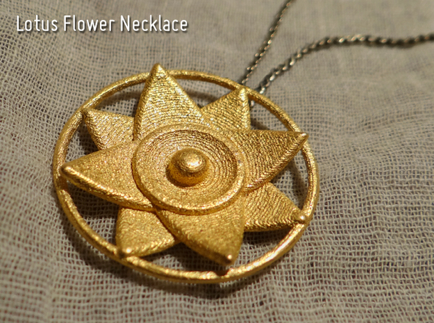 Lotus Flower Necklace in Polished Gold Steel