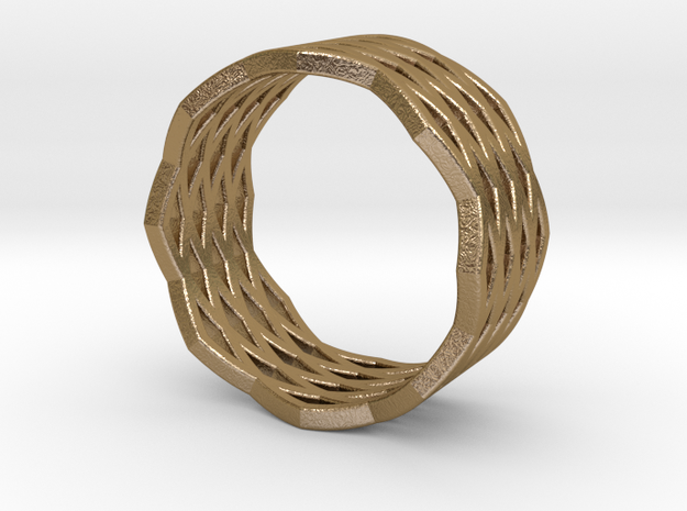 Urban Grid Ring in Polished Gold Steel