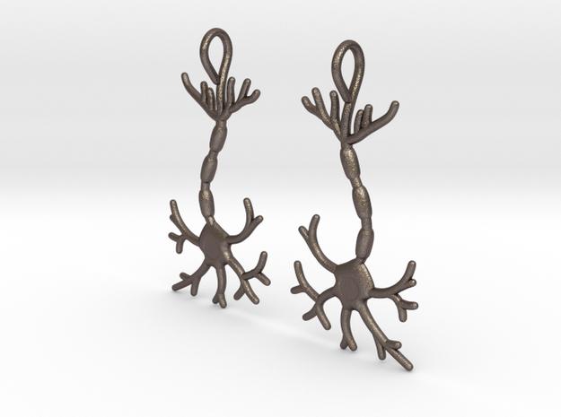 Neuron Earrings (Pair) in Polished Bronzed Silver Steel