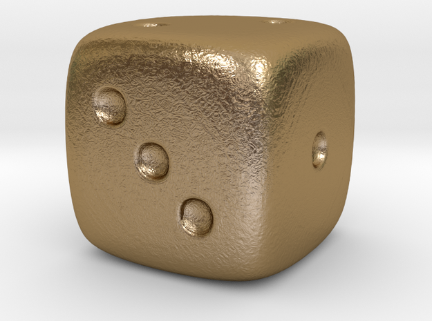Dice in Polished Gold Steel