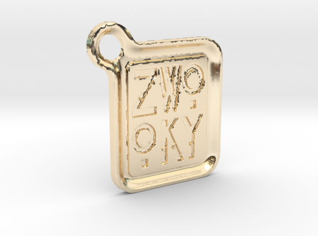 ZWOOKY Keyring LOGO 12 5cm 3.5mm rounded in 14K Yellow Gold