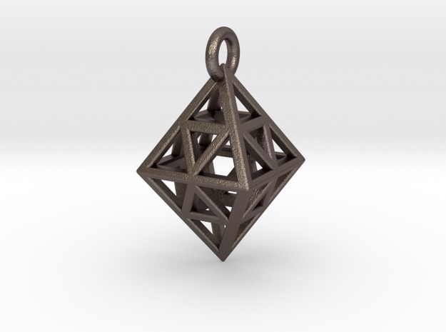 Diamond (Octahedron) Wire Pendant VI-08-0003-1001 in Polished Bronzed Silver Steel