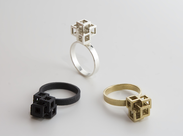 Quadro Ring - US 5 in Raw Brass