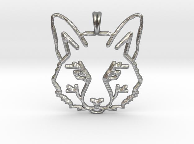 FOX TOTEM Designer Symbol Jewelry Pendant in Natural Silver