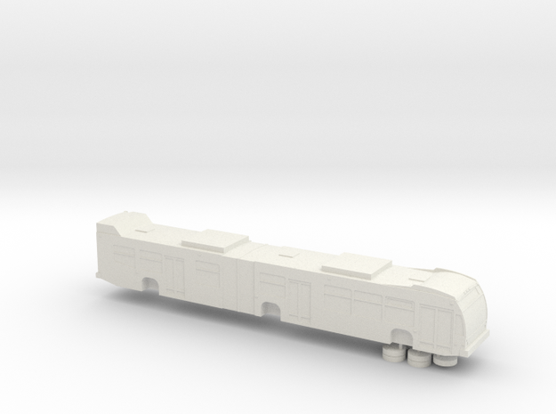 HO scale Nova LFS articulated bus (solid) in White Strong & Flexible
