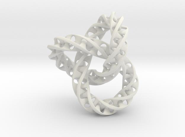 Fused  Interlocked Mobius Infinity Knot in White Natural Versatile Plastic