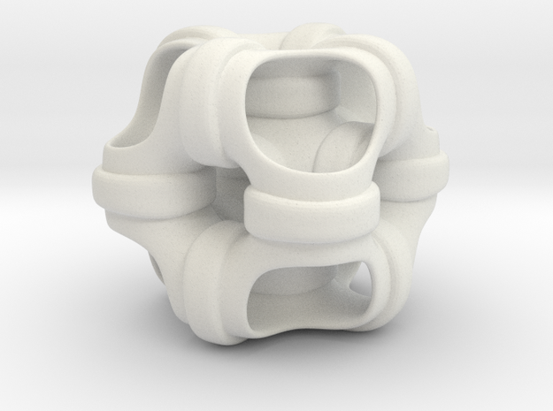 Hollowed out cube looped and piped. #1 Smaller in White Natural Versatile Plastic
