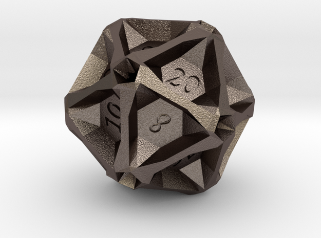 Geometric d20 [Metals] (engraved) in Polished Bronzed Silver Steel