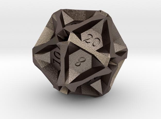 Geometric d20 [Metals] (engraved) in Stainless Steel
