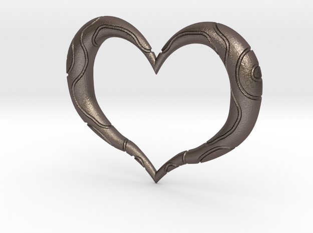 Twilight Princess Heart Container Outline in Polished Bronzed Silver Steel