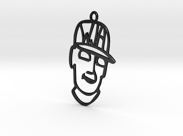 Face Pendant in Matte Black Steel