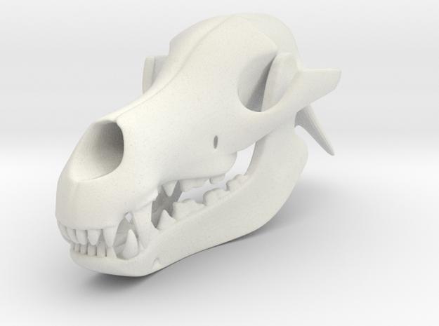 3D Printed Dog Skull in White Strong & Flexible