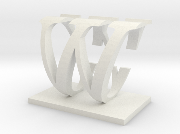 Two way letter / initial C&W in White Natural Versatile Plastic