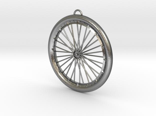 Custom bike bicycle wheel pendant  in Natural Silver