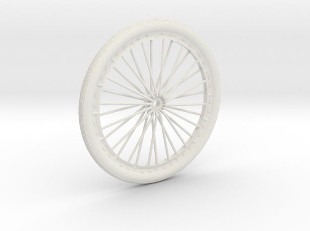 Bicycle wheel miniature in White Natural Versatile Plastic