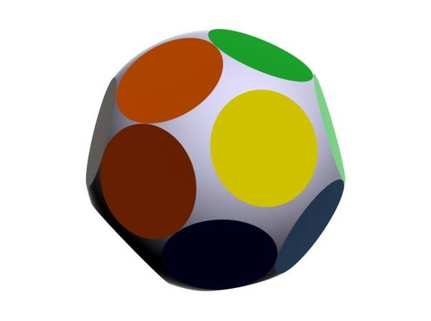 D16 Tetra Sphere Dice 3d printed With groups of faces in color