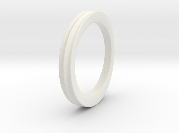 Grooved Ring in White Natural Versatile Plastic