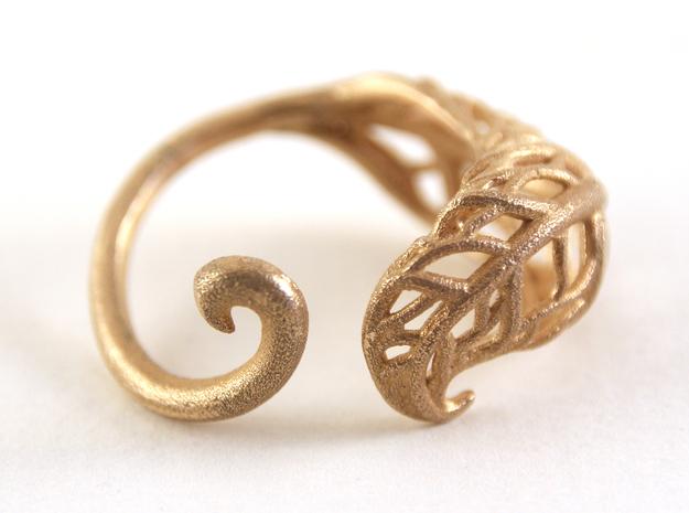 Tea Leaf Ring in Raw Brass
