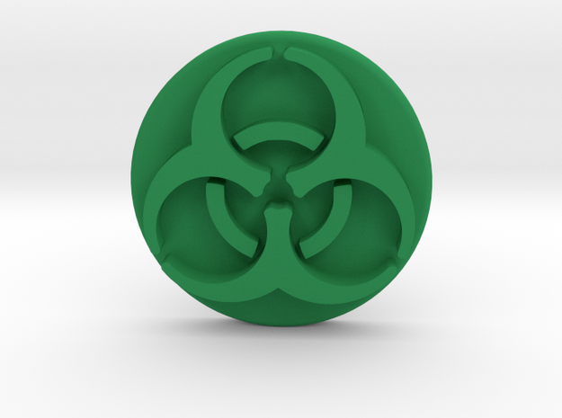 Pandemic Infection Marker -- Biohazard Symbol in Green Processed Versatile Plastic