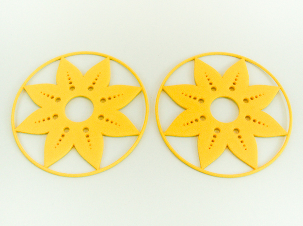 Sunflower Hoop Earrings 60mm in Yellow Processed Versatile Plastic
