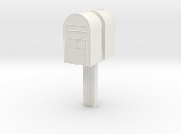 1/22,5 - Klassisk Dansk Postkasse på stang (dobbel in White Natural Versatile Plastic