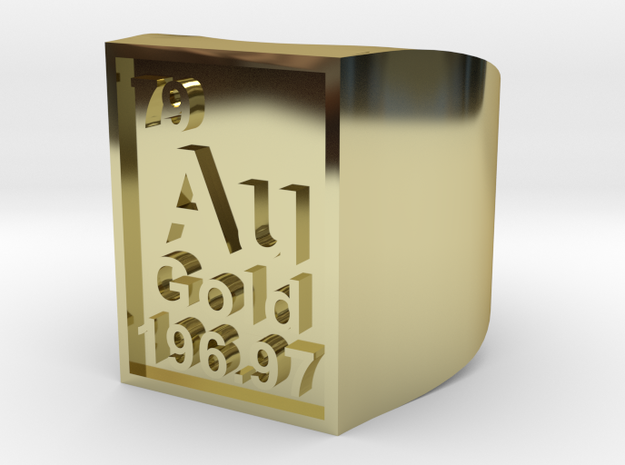 Gold Periodic Table Statement Ring Size 10 3d printed