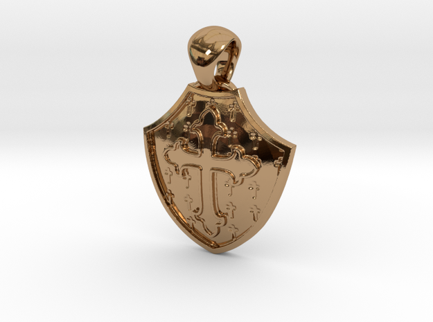 Shield And Cross Pendant in Polished Brass