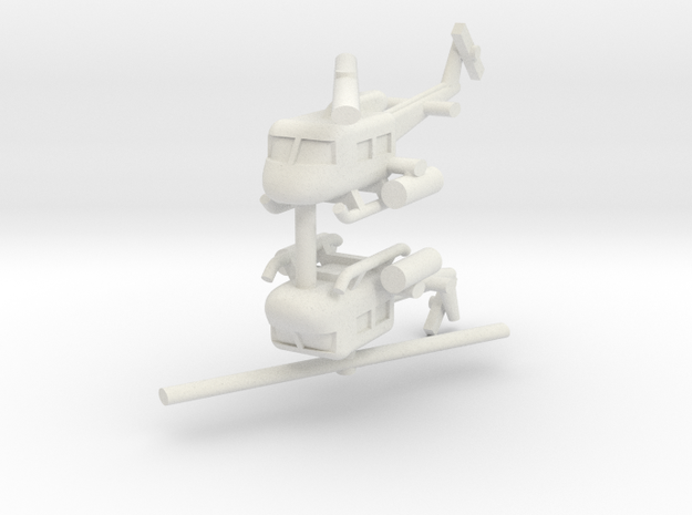 1/144 UH-1 Gunship (x2) in White Natural Versatile Plastic